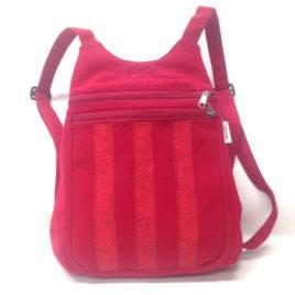 sac à dos rouge a rayure fantaisie