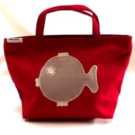 Mini sac rouge avec poisson beige