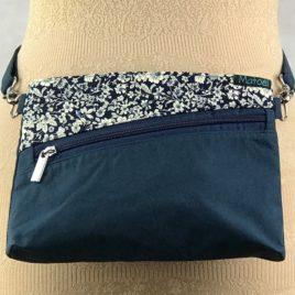 Pochette ceinture 3 en 1 en coton marine et fleur