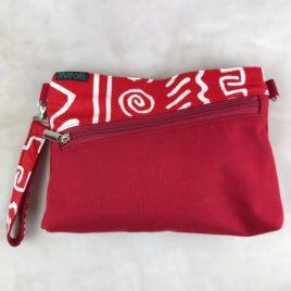 Pochette ceinture 3 en 1 rouge et toile wax